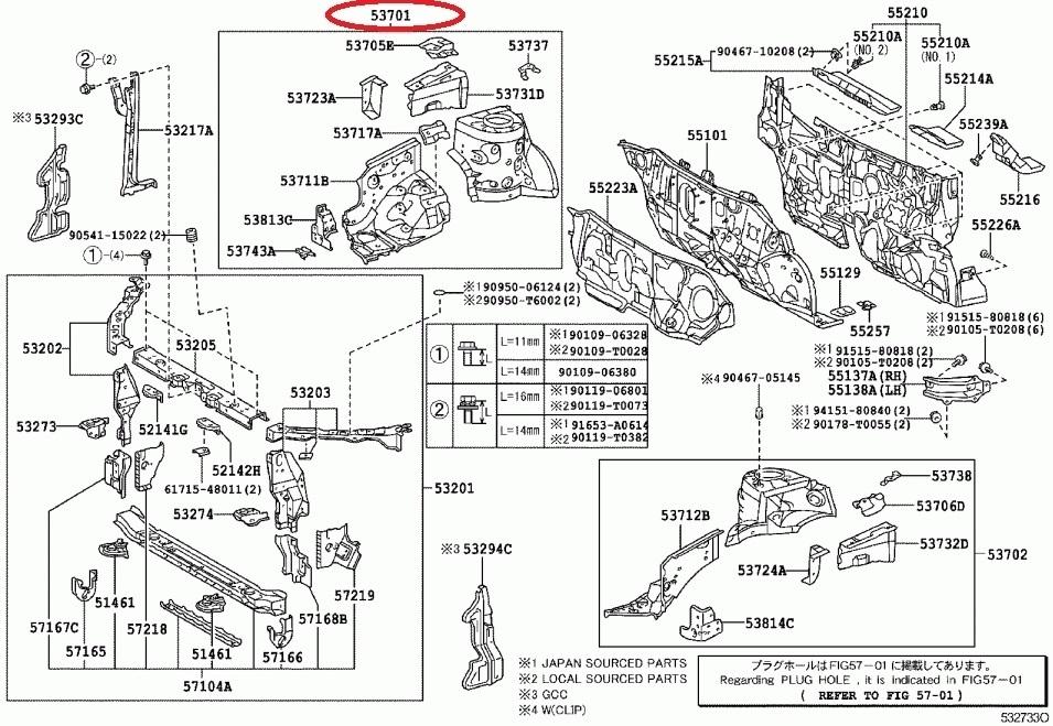 Corolla 2006 Genuine Apron Sub Assy NZE-120