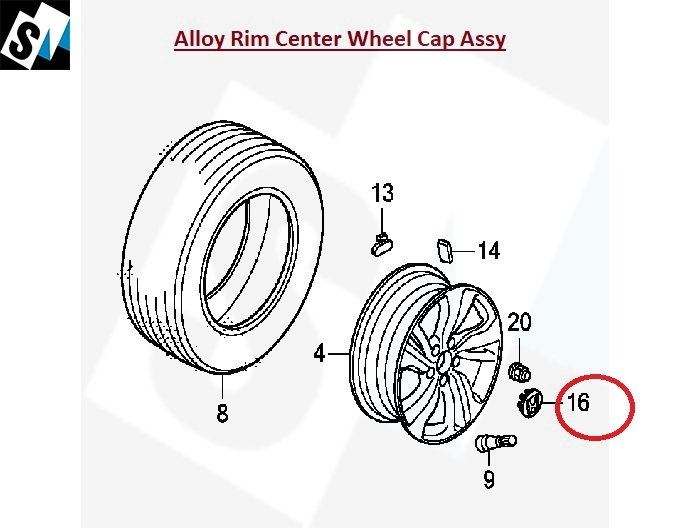 CAP, ALUMINIUM WHEEL CENTER