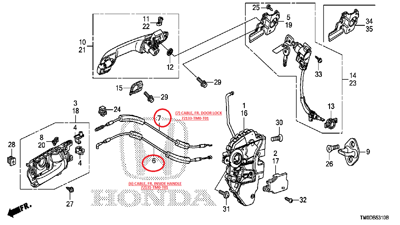 Door Cable Honda City 2019